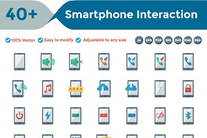 Smartphone Interaction Flat Icons