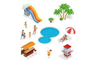 Isometric Water amusement park playground set abstract illustration.