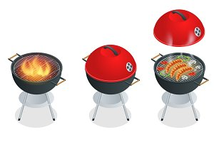 Isometric Barbecue design elements