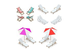 Isometric Wooden and plastic beach chairs