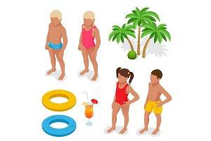 Isometric Girl, boy in a bathing suit, palm tree, life preserver, Orange juice