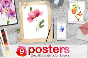 Watercolor flowers. 9 posters