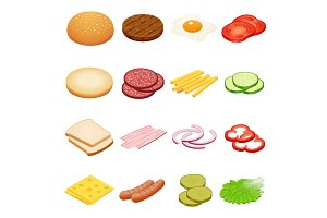 Isometric Burger ingredients set