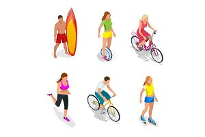Isometric Active People. Healthy Lifestyle.