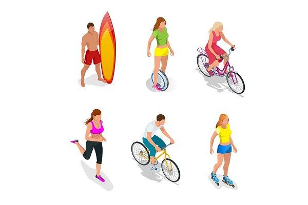 Isometric Active People. Healthy Li…