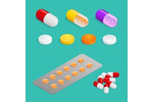 Isometric Medicaments of various types, set  medical pill