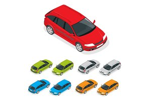 Crossover car isolated on white. Flat 3d isometric illustration.