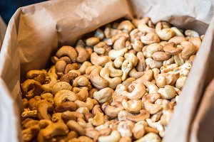 cashew nuts in paper bag
