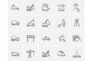Construction sketch icon set.