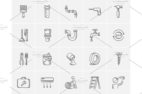 Construction Sketch Icon Set