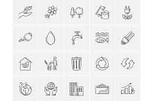 Ecology sketch icon set.
