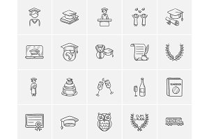 Education sketch icon set.