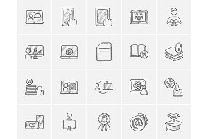 Self-education sketch icon set.