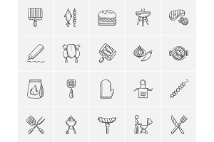 Barbecue sketch icon set.