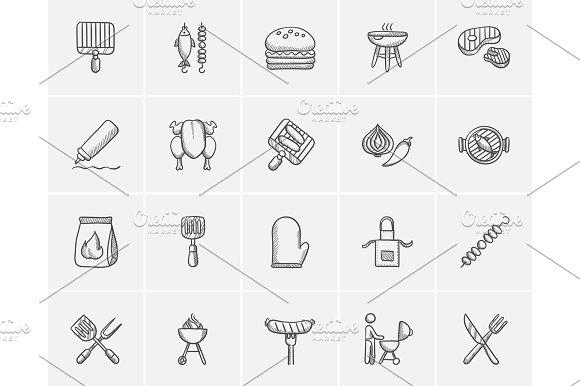 Barbecue Sketch Icon Set