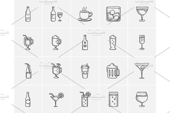 Drinks Sketch Icon Set