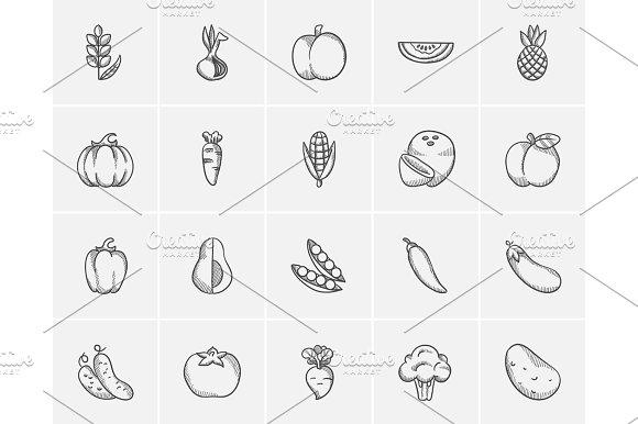 Healthy food sketch icon set.