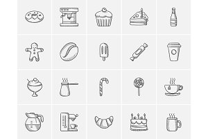 Junk food sketch icon set.
