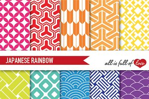 Rainbow Geometric Backgrounds Kit