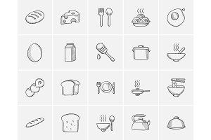 Food and drink sketch icon set.