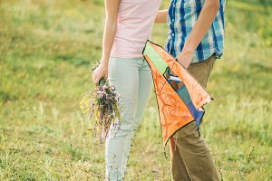teenage couple dating on picnic