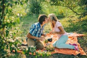teenage couple kiss