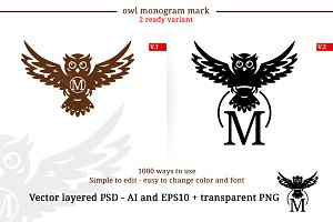 Owl Monogram Monochrome Logo
