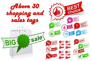 Shopping and sales tags & icons