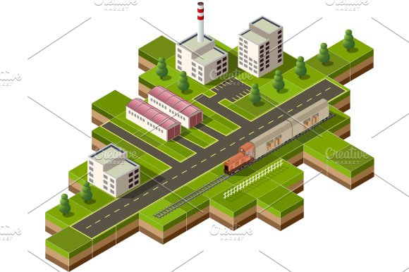 Isometric city illustrations creative market for 3d setup builder