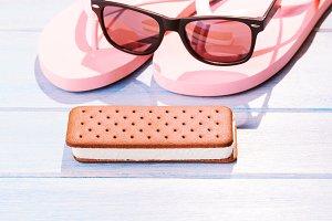 Ice cream with sunglasses