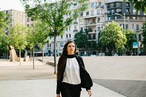 Confident businesswoman in the street