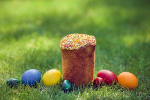 Fresh Easter cake with colorful decorative eggs