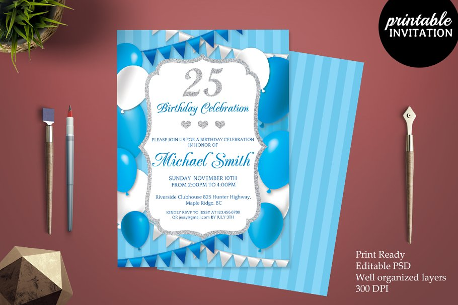 25th Birthday Invitation Template Templates Creative