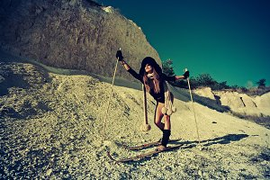 fashion girl skiing in hot summer