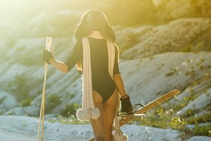 fashion woman skiing in hot summer