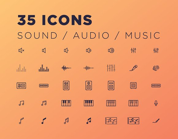 35 Sound/Audio/Music Icons in Graphics
