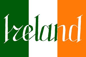 Ireland word flag lettering vector