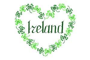 Ireland lettering clover heart art