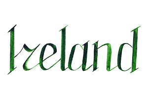Ireland word lettering isolated