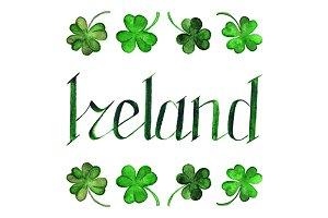 Ireland lettering clover shamrock