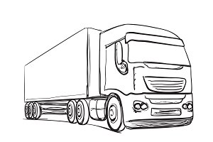 Truck sketch. Drawn transport