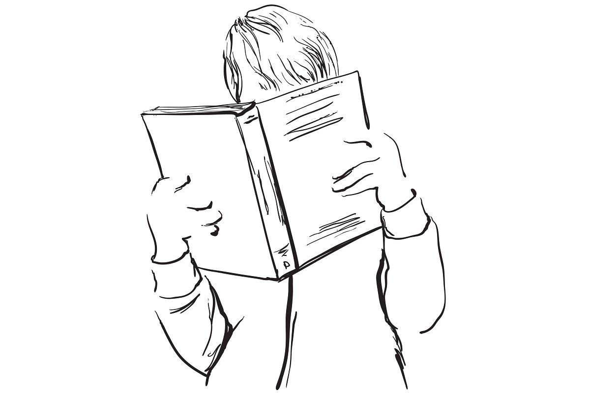 Save boy reading book sketch