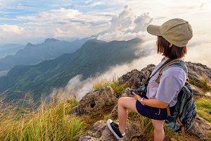 Girl tourist on mountain in Thailand