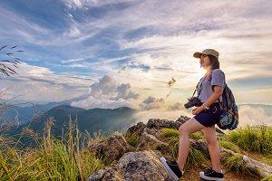 Hiker girl on Phu Chi Fa Mountain