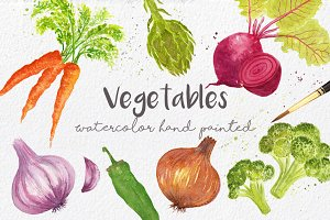 Vegetables in watercolor hand made