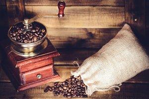 Coffee Mill & burlap bean sack