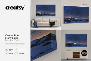 Canvas Print Many Sizes Mockup Set