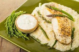 Halibut and asparagus risotto