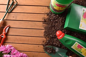 Garden products on wood table top
