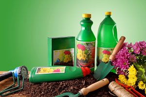 Garden products green background